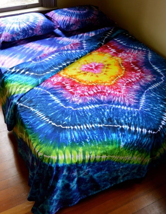 Hand Dyed Sheet Set Queen Size Tie Dye Bedding