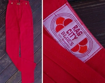 """Strawberry 1970's Vintage Bright RED High Waist Skinny Pants with Matching Belt // by Rag CITY Blues // size XS Waist 24"""""""