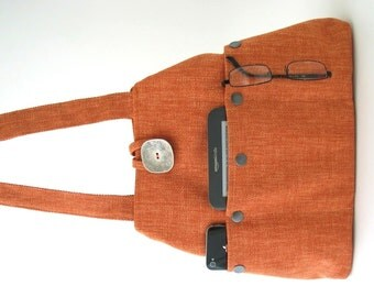 tote with pockets, tote handbag, fabric tote, orange tote purse, shoulder bag, everyday bag, shoulder purse, fabric purse