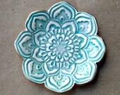 Aqua Ceramic Lotus Ring holder Dish 3 1/4 inches round edged in gold