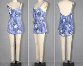 1950s bathing suit / floral swimsuit / CATALINA vintage swim suit