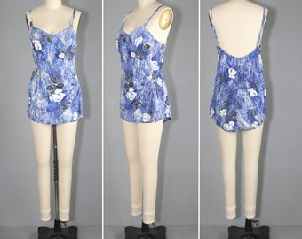 1950s bathing suit / floral swimsuit / CATALINA vintage swim suit