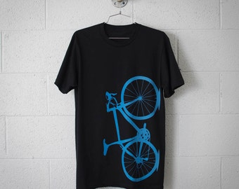 Men's Road Bike Tee, Medium Laser Blue on Black Road Bike