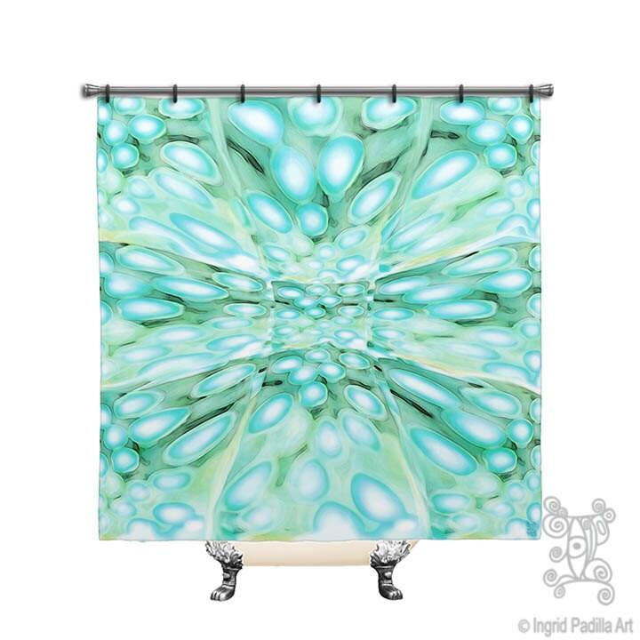 beachy shower curtain blue boho custom printed fabric