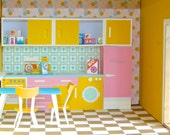 Vintage Dollhouse Kitchen Paper Toy PDF - Print and Make Your Own Retro Kitchen with Miniature Groceries