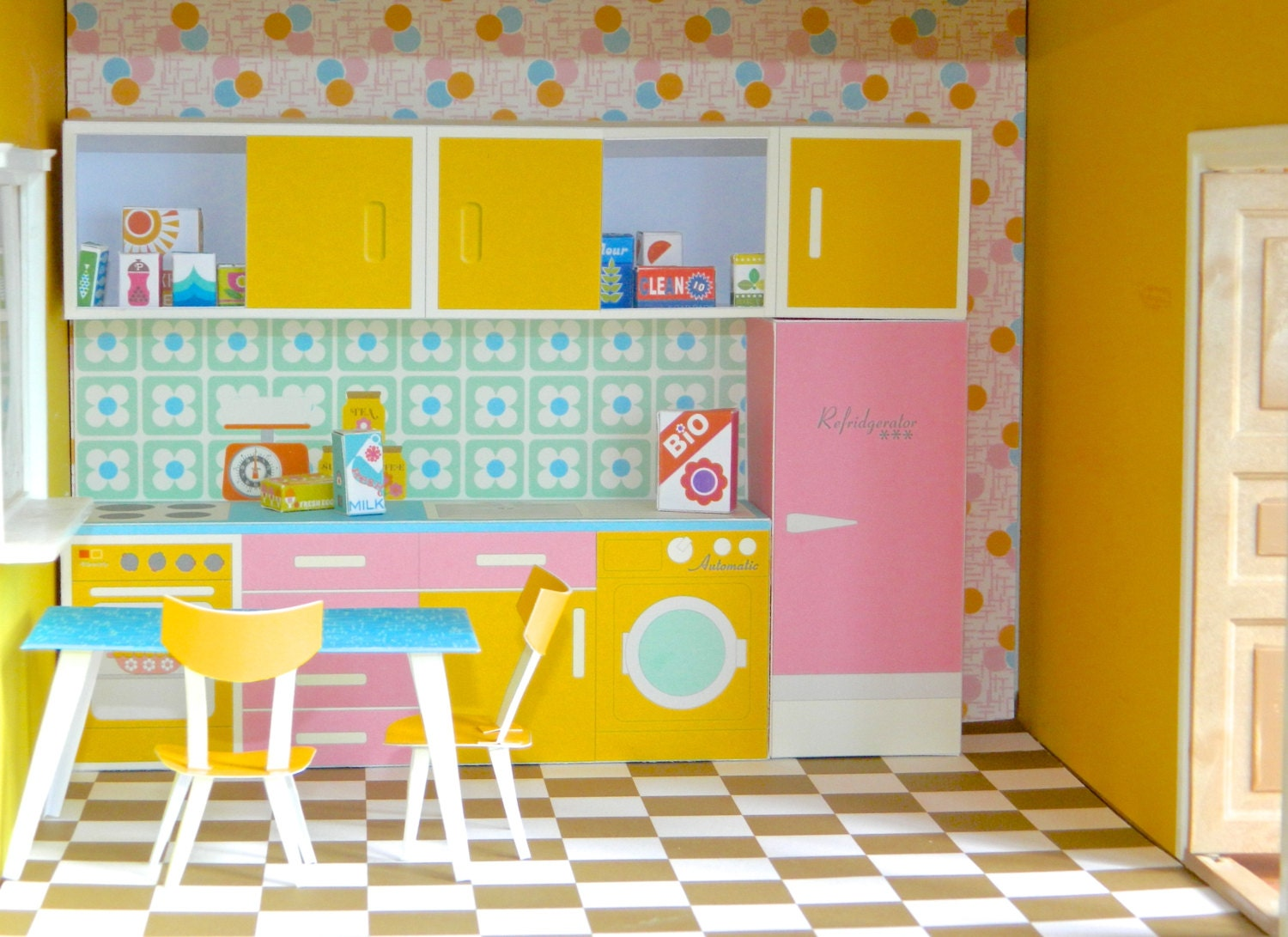 vintage dollhouse kitchen paper toy pdf print and make your