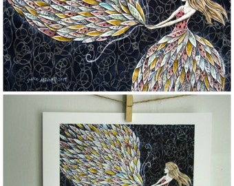 She fancied a sky full of feathers, boho, illustration, gifts for her, home decor 8.5 x 11 archival reproduction print