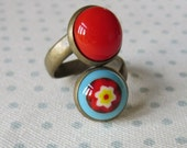 Wrap Ring, Fused Glass Wrap Around Ring, Adjustable Double Bohemian Ring, Handmade Fused Glass, Red and Blue
