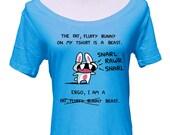 Fat Fluffy Bunny Beast Scoop Neck Tshirt - Cute Rabbit Shirt