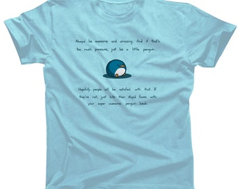 Light Blue Super Awesome Penguin Beak Shirt - Mens and Ladies Sizes - Cute Funny Tshirt