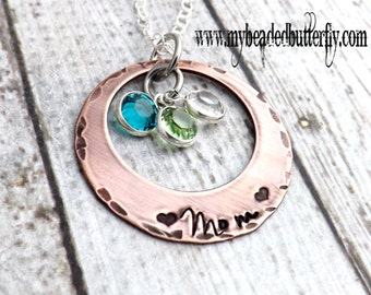 personalized necklace- mom necklace-Grandmother necklace-hand stamped jewelry-birthstone necklace - mom necklace - washer necklace