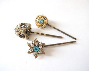 Something Blue No.92 - Vintage Blue Rhinestone and Fleur de Lys Hair Pin Set of Three, Bridal or Special Occasion