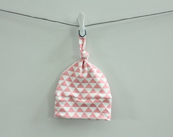 baby hat triangle hipster coral pink Organic knot modern newborn shower gift photography prop hospital outfit accessory neutral girl boy