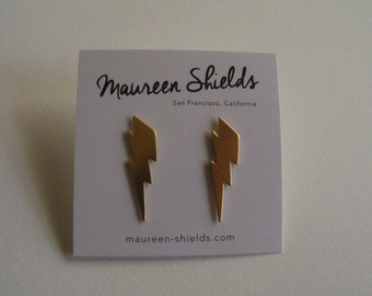 Brass Lightening Bolt Stud Earrings