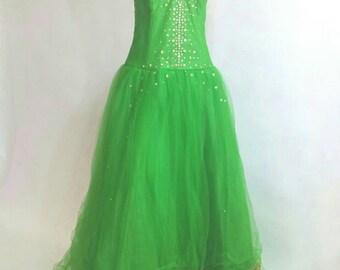 Women's Green Tulle Formal Dress