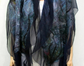 Midnight Nuno Shawl-Scarf felted sheer cashmere-soft  merino silk - navy blues with black accents