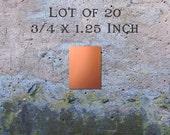 "Copper Jewelry Findings Pendants or Earring Blanks Lot of 20 (3/4"" x 1.25"") 16oz. 22 Gauge Solid Copper"