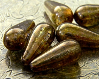 Lavish Chestnut (6) -Czech Glass Smooth Drops 20x9mm