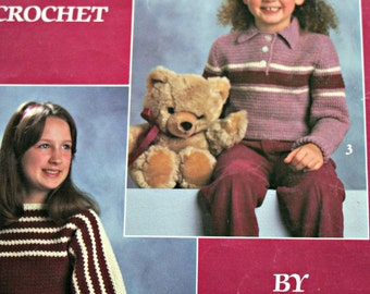 Crochet Patterns Girl's Sweaters 4 Designs to Crochet Leisure Arts 362 Worsted Weight Yarn Children Sport Paper Original NOT a PDF