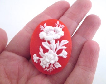 4 30x40mm red flower cameo cabochons