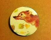 Autumn Fox Wooden Brooch