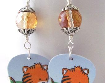 Tiger Earrings Plastic Gift Card Earrings Guitar Pick Earrings Upcycled Gift Ideas for Girlfriends Gift Ideas for Cat Lovers