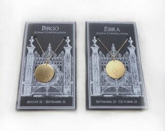 Virgo Zodiac Constellation Pendant Necklace // Custom Chain Length Options // Birthday gift for Virgo //Bridesmaid gift//Handmade in Chicago