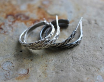 Sterling Silver Braid Post Hoop Earrings Gifts Under 50