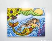 Hawaiian Sunflower Mermaid and Turtle