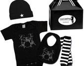 Rockstar Baby Kit - Drums Romper, Bib, Star Hat & Striped Leg Warmers
