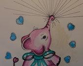 Baby Shower Elephant Thumbprint Guest Book Kit, Original Vintage Style Watercolor, Personalized Keepsake, Nursery Wall Art, Newborn Girl