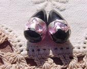 Ebony Pink Foil Banded Drops Vintage Glass Beads