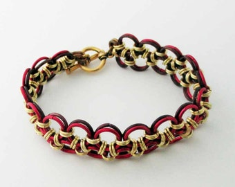 Red Brown Gold Reversible Lace Chainmaille Bracelet Handmade