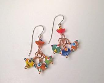 Flirty Glass Bead Dangle Earrings