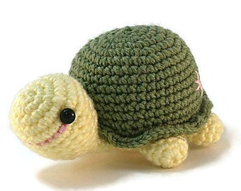 Green Crocheted Turtle, Crocheted Turtle, Amigurumi Turtle
