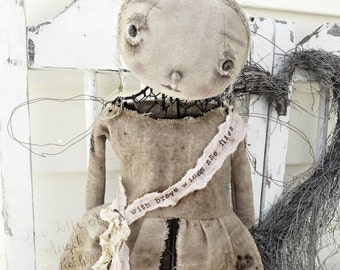 Tattered Angel Standing Mannequin Cage Doll Metal Industrial Steam Punk Dirty Primitive Hand Made Fabric ooak Veenas Mercantile Kim Kohler