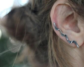 Forged Ear Cuff earring /Sterling silver ear climber EAD2015 / Ribbon earring