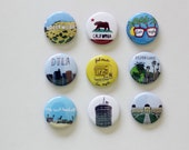 9 Los Angeles California Themed 1 inch Button Pin Set