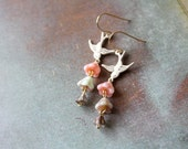 Summer bouquet earrings - romantic shabby chic floral jewelry