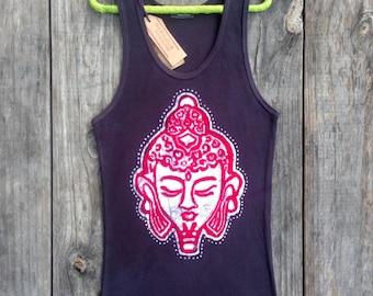 Buddha head boho top, Yoga top, ribbed tank top, batik black, meditation Buddha, gift for her festival clothing, Tops and Tees Yoga clothing