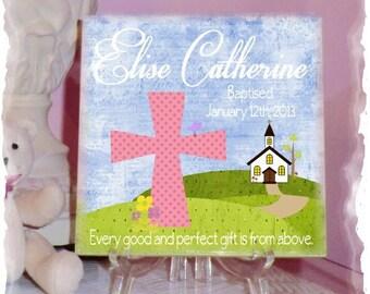Custom Ceramic Tile Wall Art - Baby Girl Baptism Gift