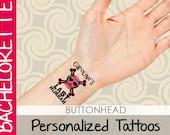 6 Custom Bachelorette Party Favors Customized Temporary Tattoos - Skull Crossbones