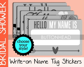 10 Wedding Name Tags - Bridal Shower Name Tags Stickers - Damask, Paisley, Chevron, Floral, or Arrow