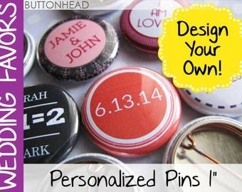 100 Cheap Wholesale Wedding Favors Bulk Personalized Custom Pins - Small