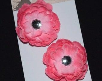 Pink Flower Hair Clip Set - Buy 3 Items, Get 1 Free