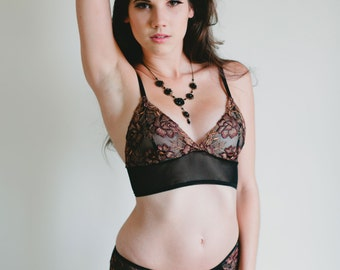 SALE Sheer Bra - Richly Embroidered Brown and Black Mesh Bra - Made To Order Lingerie