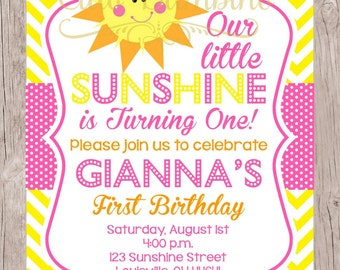 PRINTABLE You are My Sunshine Birthday Party Invitation / PRINTABLE Sunshine Invitation in Pink and Yellow with Chevron / You Print
