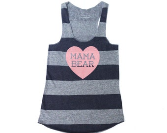 Mama Bear with Heart Heather Grey and Heather Black Stripe Racerback Tank Top with Pink Print