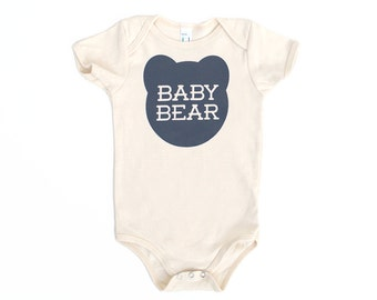 Baby Bear Natural Off-White Organic Cotton One-Piece Romper with Grey print - newborn, baby shower