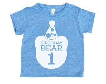 First Birthday Bear TriBlend Heather Blue TShirt with White Print - Infant and Toddler sizes - Birthday Party, Family Photos, One Year Old